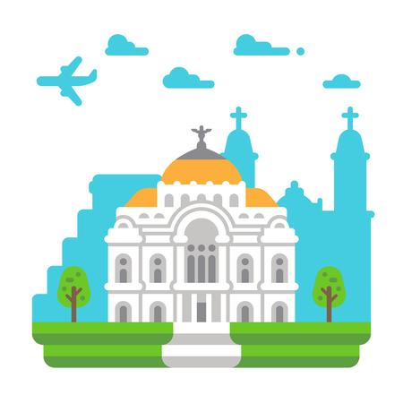 Diseño plano de Palacio de Bellas Artes ilustración vectorial Foto de archivo - 80177170