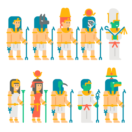 Ancient egyptian gods set cartoon design illustration vector