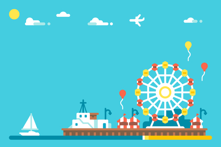 Flat design Santa Monica pier illustration vector Çizim