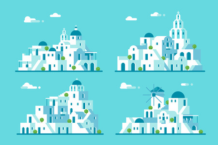 Flat design Santorini village set illustration vector Иллюстрация