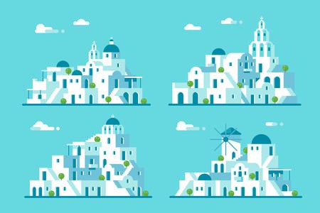 Flat design Santorini village set illustration vector Illustration