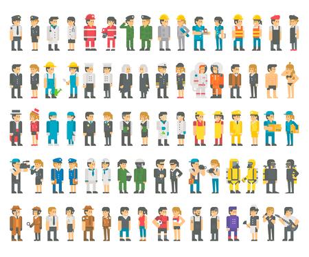 Disegno piane molte professioni impostare vettore illustrazione