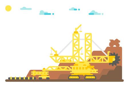 quarry: Flat design bucket wheel excavator mining background illustration Illustration