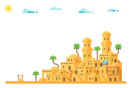 Flat design ancient mud houses background illustration vector Çizim