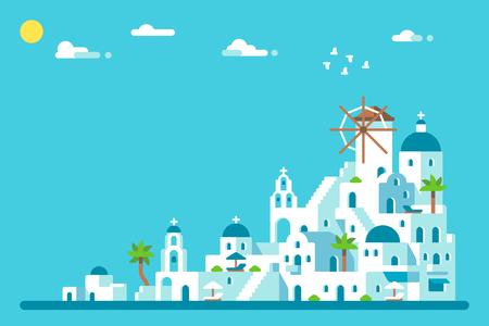 フラットなデザインのサントリーニ島の村。  イラスト・ベクター素材