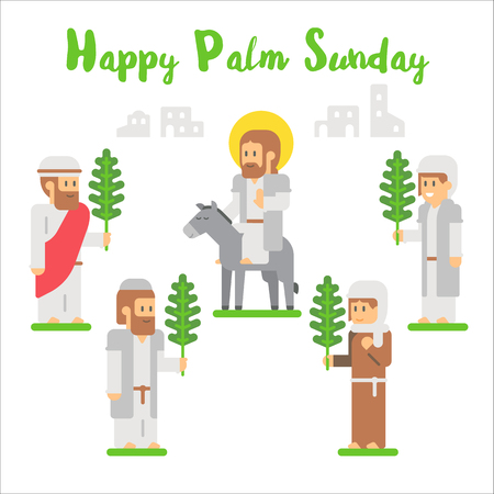 Flat design happy palm sunday illustration vector
