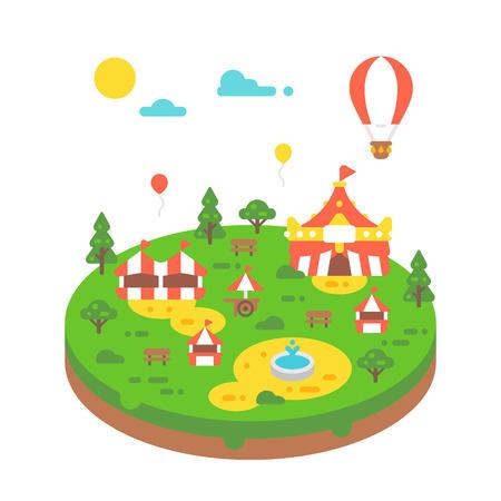 Flat design amusement park illustration vector