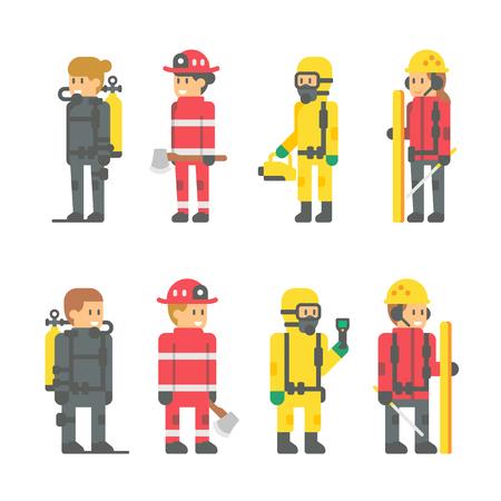 Flat design rescuer staffs illustration