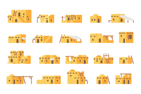 Flat design arab mud house set illustration vector