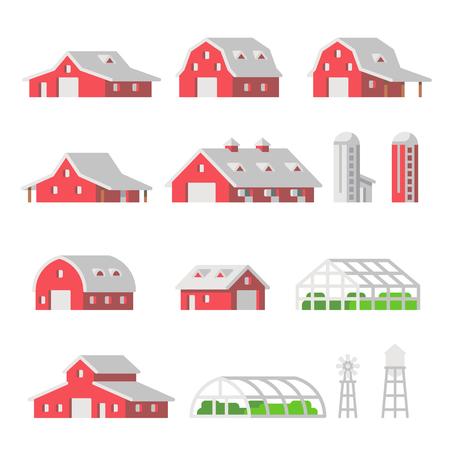 Flat design barns farm isolated vector illustartion Reklamní fotografie - 123636693