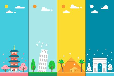 Flat design 4 seasons landmarks illustration vector
