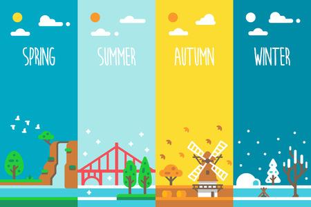 Flat design 4 seasons holiday illustration vector 일러스트