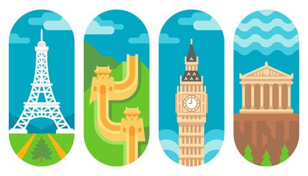 Flat design landmarks illustration vector Illustration
