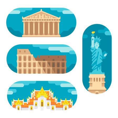 Flat design landmarks illustration vector Çizim