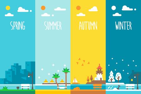 Flat design 4 seasons holiday illustration vector Çizim