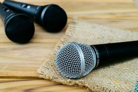 metallic: Microphone on wooden table
