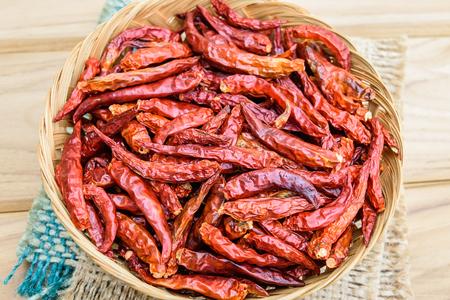 Chili seco en muchos pigmentos rojos, ingrediente alimenticio