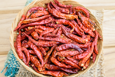 Dried chilli in many red pigments, food ingredient