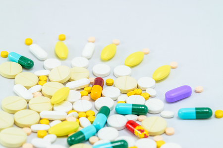 Medicines. Pills and capsules on white background Stock Photo