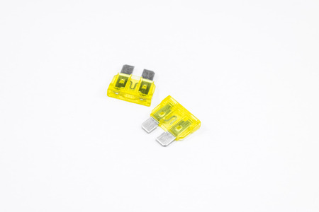 Electrical automotive fuses for car on white background Stock fotó