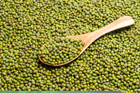 Organic mung beans with wooden spoon