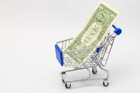 Dollar in Shopping Cart Isolated On White Background Foto de archivo - 127562368