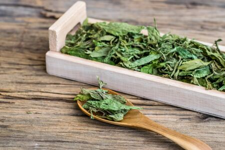 Dry stevia leaf in a wooden spoon on an old wooden floor