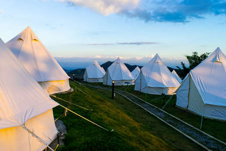 Beautiful pavilion tent in the morning at Khao Kho, Phetchabun Province, Thailand
