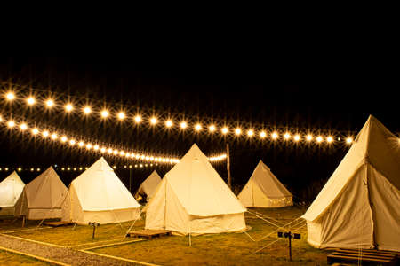 Pavilion tent during the night when the lights are beautifully decorated at Khao Kho, Phetchabun Province, Thailand