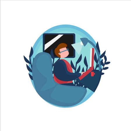 illustration of a man working at home in a circle shape, freelance, etc