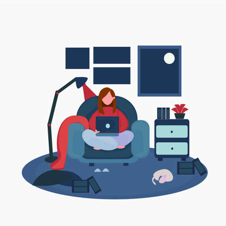 illustration of a woman sitting in a sofa playing the computer, doing assignments, playing social media, working, study, etc