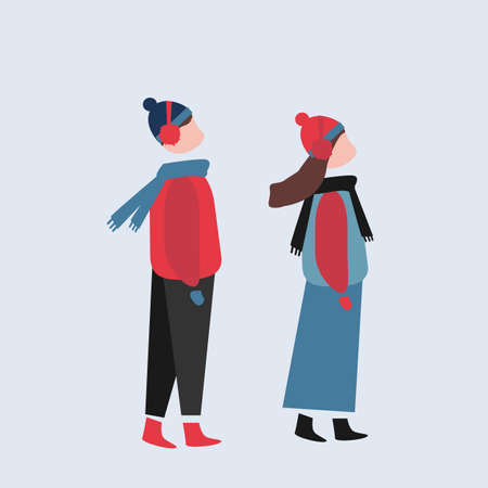 illustrations of people dress in winter clothes, simple, teenager, sweaters, gloves, young etc Illusztráció