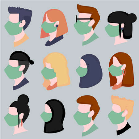 illustration of the faces of men and women wearing masks face facing side, people in the world wearing masks