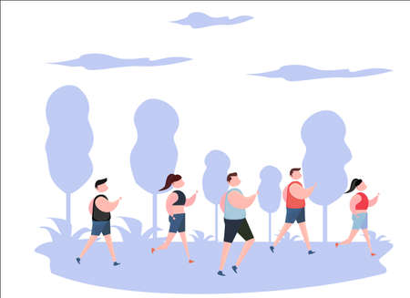 illustration of man and woman running together in a competition and celebration. race.
