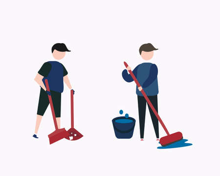 illustration of men doing simple housekeeping, sweeping the floor, mopping the floor