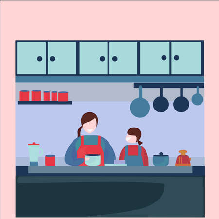 illustration of mother and daughter cooking together in the kitchen, make a cake, food