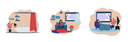 set illustration of winter activities when staying home, reading books, soaking, watching tv, at home, winter seasons. Vector Illustratie