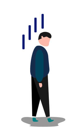illustration from a man who looked exhausted, tired people, simple Vettoriali