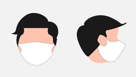 illustration of head a man wear white mask, face wearing a mask visible from the side and front, icon, etc Vectores