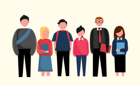 illustration of students and teachers stand together, college, teenager, back to school together. Vetores