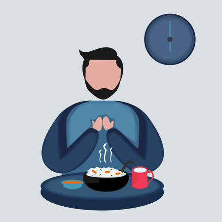 illustration of a person praying before eating