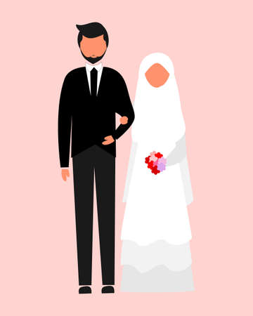 illustration of muslim woman and man get marriage, wedding, love, couple, simple