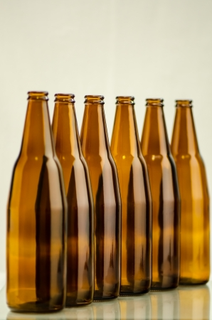 reprocess: Group of brown bottle  Stock Photo