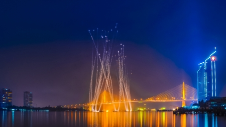 Fireworks at Chao Phraya river and Bangkok, Thailand photo