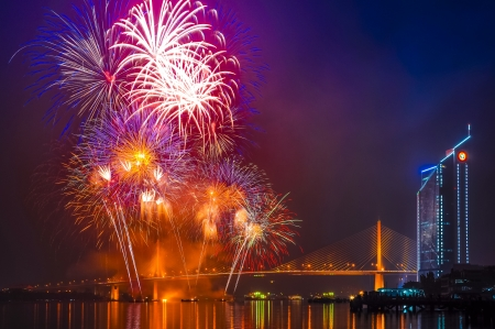 Fireworks at Chao Phraya river and Bangkok, Thailand