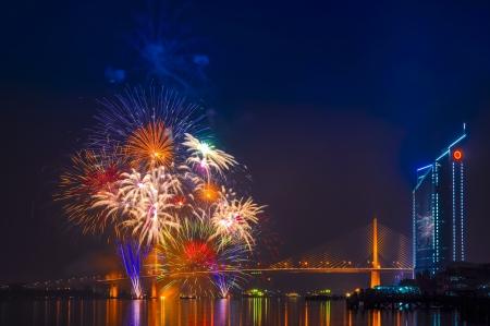 chao: Fireworks at Chao Phraya river and Bangkok, Thailand