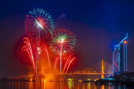 Fireworks at Chao Phraya river and Bangkok, Thailand photo