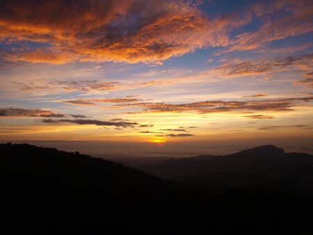 Sunset on Doi Inthanon mountain at Chiangmai