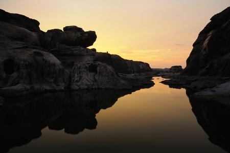 Sunset at Sampanboak Ubonratchathani Thailand Stock Photo - 10403929