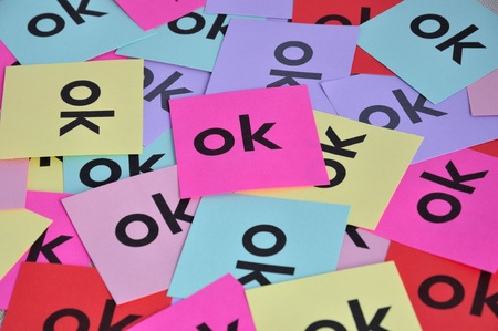 Pile of colorful paper notes with word Stock Photo - 12974656